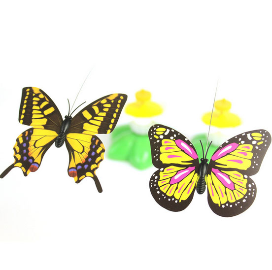 Funny Electric Butterfly Cat Toy Flower Electric Butterfly Cat Interactive Toy Cat Play Toy(Without Battery)