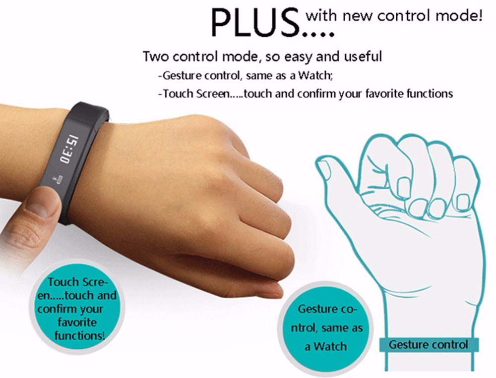 Smart Wristband BT 4.0 Waterproof Sleep Monitor Smart Bracelet i5 Plus