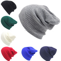 Hot Sale Autumn Winter Pure Color Fashion Warm Adult Knitted Earmuff Hat Pattern
