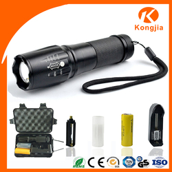 Good Quality Rechargeable 18650/26650 Battery Tactical Focus Zoomable Operated Aluminum Flashlight Led T6