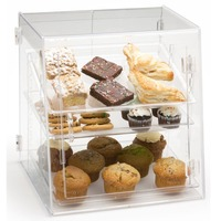 Acrylic Cupcake Stand Display Cabinet, Cookie Display Case Container, Bakery Pastry Display Case with 3 Shelves