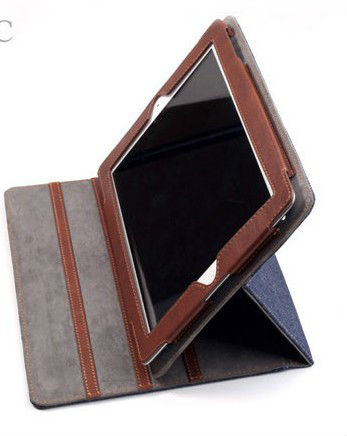 For ipad 5 Jean style wallet leather stand case