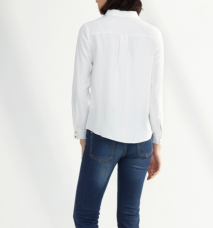 2017 The new spring Chiffon white shirt female long sleeved shirt