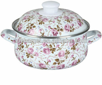 Enamel Casserole with Enamel Cover and Hollow Enamel Handles