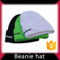 Good quality plain black knitted caps custom winter beanie hats with leather patch