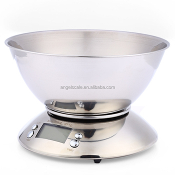 digital electronic weighing Scale Stainless Steel Food kitchen Scale with bowl