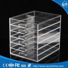 wholesale high quality custom acrylic cosmetic display storage box,6 drawers acrylic acrylic makeup organizer