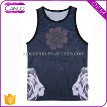 Flower print tank tops custom bodybuilding tank top men