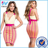 Fashion Casual Sexy Elegant Women Deep V-Neck Fuchsia and Citrus Chiffon Top Bandage Cocktail Dress