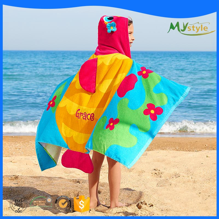 Cheap Custom Soft velour Cotton Reactive Baby Hooded Beach Towel Bath Robe