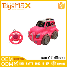Hot selling pink and rose red 2 channel rc model car cartoom engineering trailer with lights