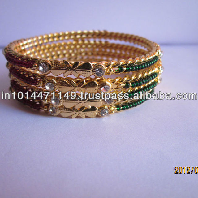 lac bangles with stones