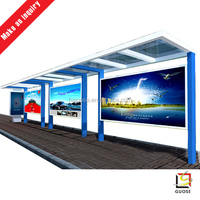 prefabricated stainless steel bus shelters with bus stop advertising billboard