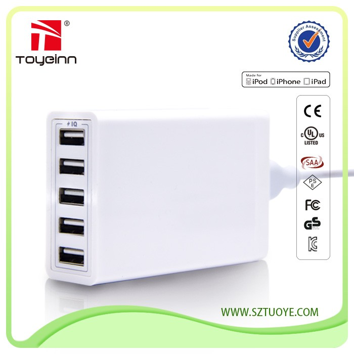 OEM High Performance Multi Port Travel Wall Charger Desktop Rapid Charging Station 40W 5 Port USB Charger with Smart IC