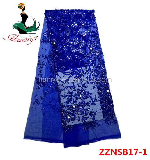 Haniye ZZNSB17-1 royal blue African tulle lace fabric with crocheted trimming in high quality for dress /wholesale net lace
