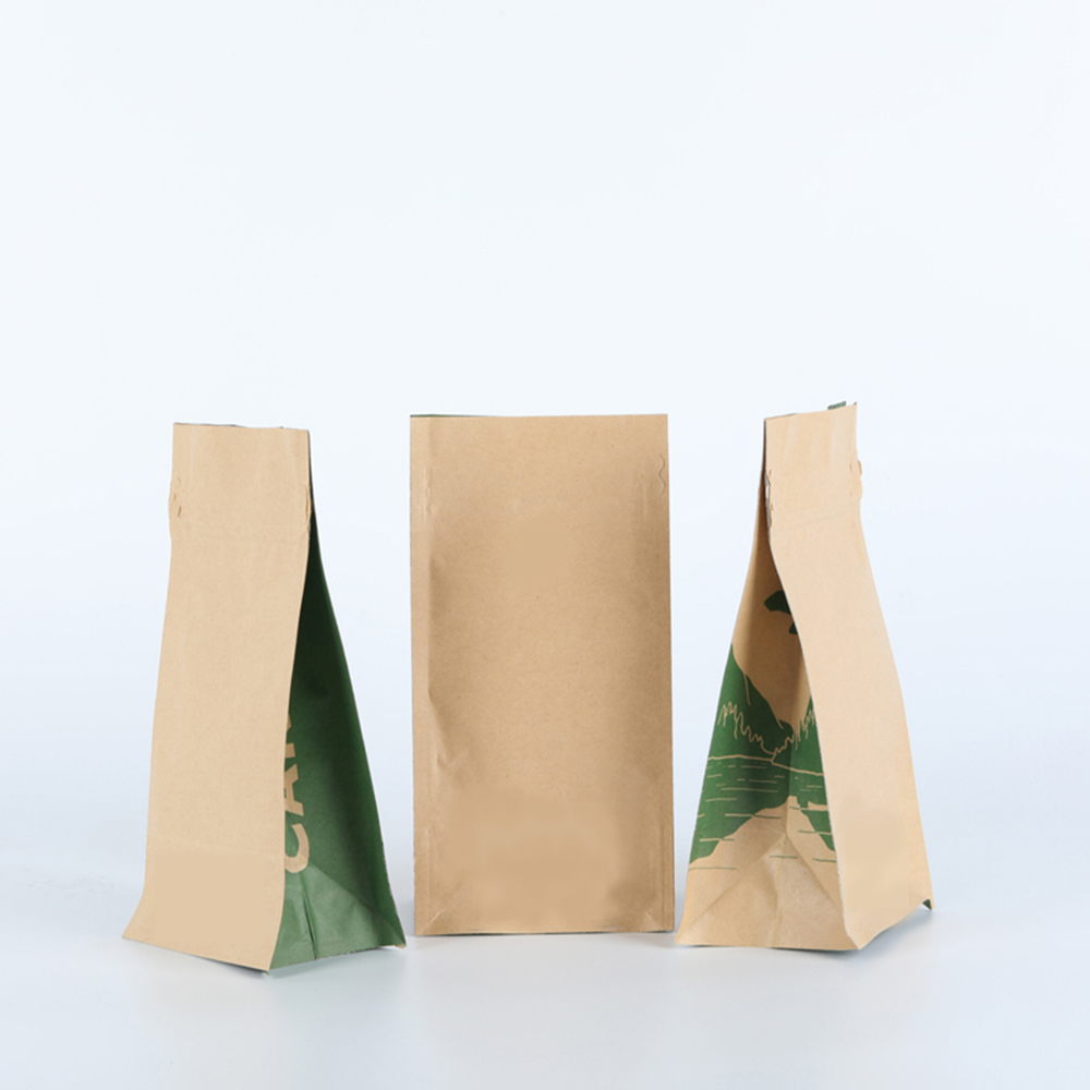 China supplier plastic lined food side gusset brown kraft paper bag with window and zipper