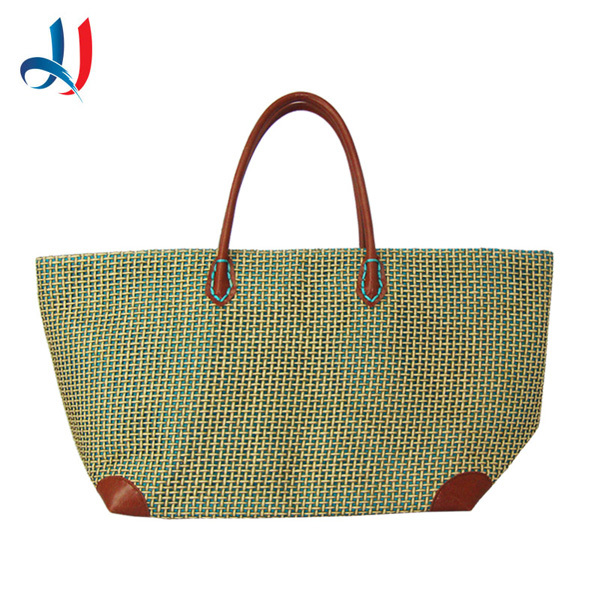 China Wholesale newest Design Straw Weaving Pattern Beach Bag with Leather handle