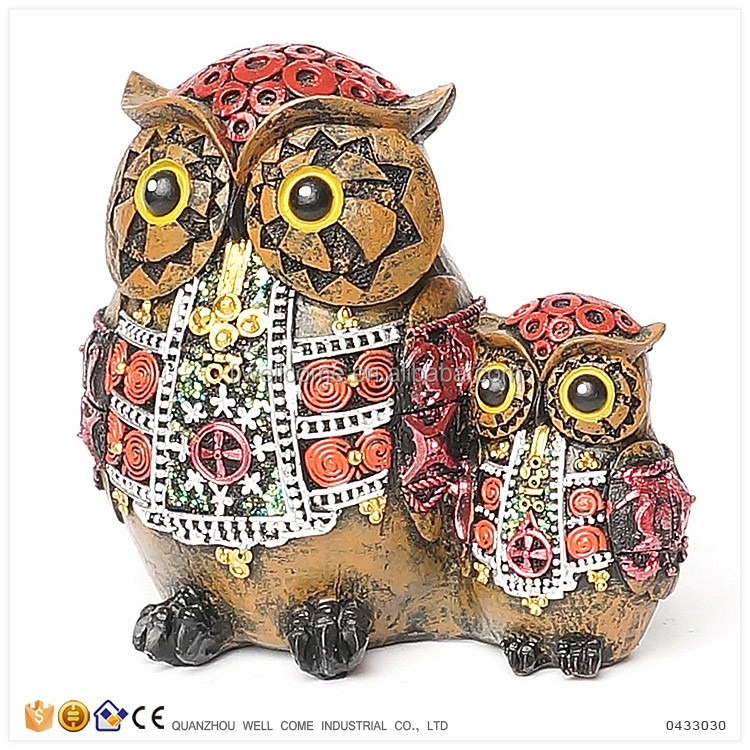 Resin Statues of Mother and Baby Owls for Sale