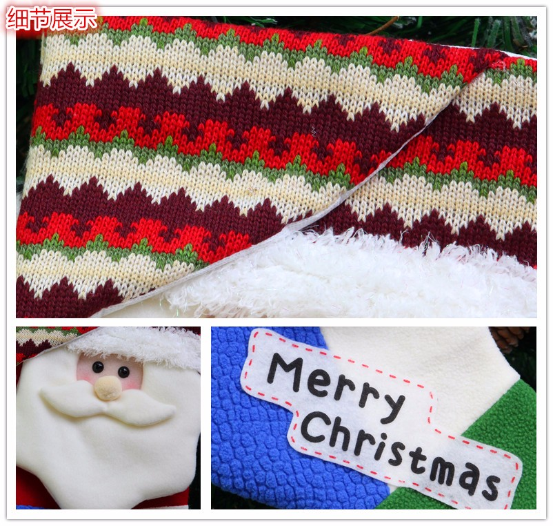 Fast Delivery 3 Asst Hanging Polyester bule green red santa christmas stocking