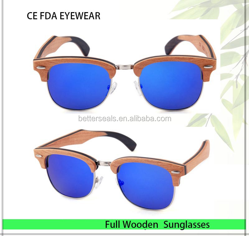 polarized sunglasses Stock wooden sunglasses with Mirror blue Polarized lens sunglass