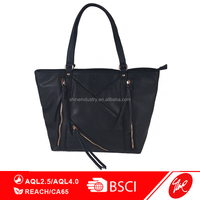 Black Grain PU Double Zippers Fashion Handbag
