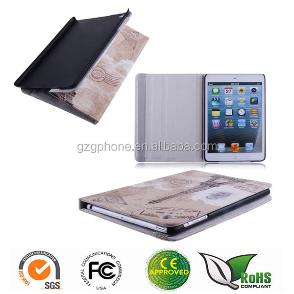 customized image printed PU leather case for iPad mini 1/2