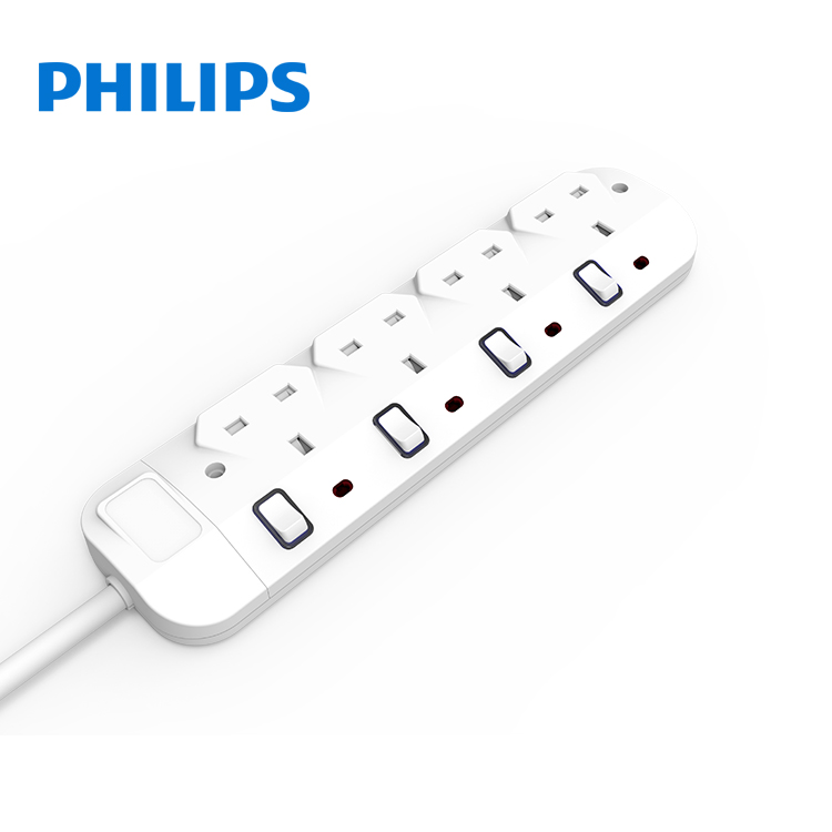 New arrival fashion design 13 amp 2 gang 4 ways extension power strip switched socket