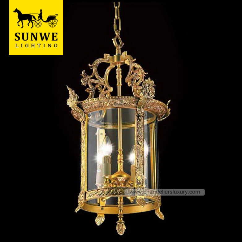 Traditional Luxury 4 lantern candle Pendant Lights Antique Brass Copper HomeStairs Round Bronze Glass pendant lights