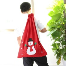 Newest Fashion Cute Christmas Snowman Style Non-woven Fabric Large Gift Bag Red