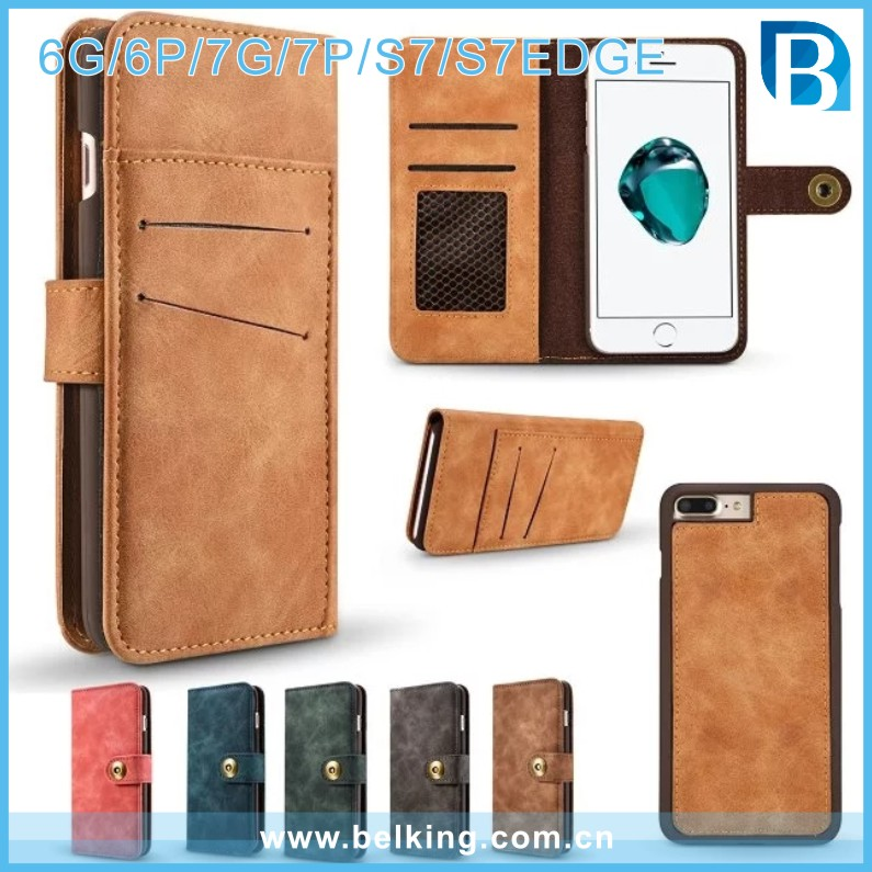 China Leather Phone Case for iphone 6/6plus/7/7plus, For Samsung S7/S7edge Wallet Case Retro Folio Flip Cover with Card Holder