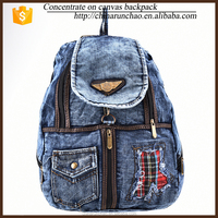 alibaba express vintage fashion designer new products jeans mental closure backpack handbag for teens travel hiking