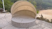Cheap outdoor rattan round sofa bed round rattan daybed round sun bed