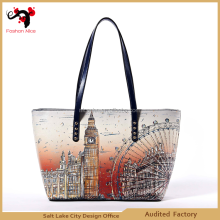 2015 leather brand name handbags fashion designer clear women tote bags