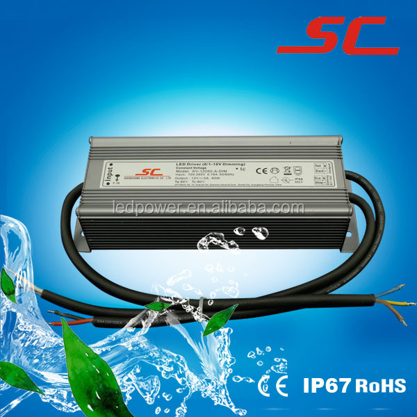 60W with output 12V 5A constant voltage led driver for 0-10V 1-10V dimming with waterproof to IP67