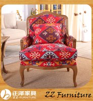 A section so beautiful fabric printed wooden chair