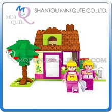 Mini Qute DIY girls kids tree planting village cottage house action figure plastic building block brick educational toy NO.24403