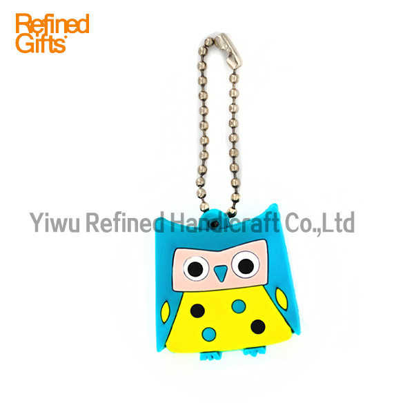 Creative Red Blue Owl keychain Personalized pvc rubber Animal Keychain