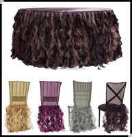 Fancy ruffled wedding table cloths and chair cover,curly willow table skirt