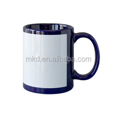 11OZ Dark Blue orca coated sublimation mugs with white patch