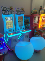 Gift machine parkour video game single player with colorful light flash and music