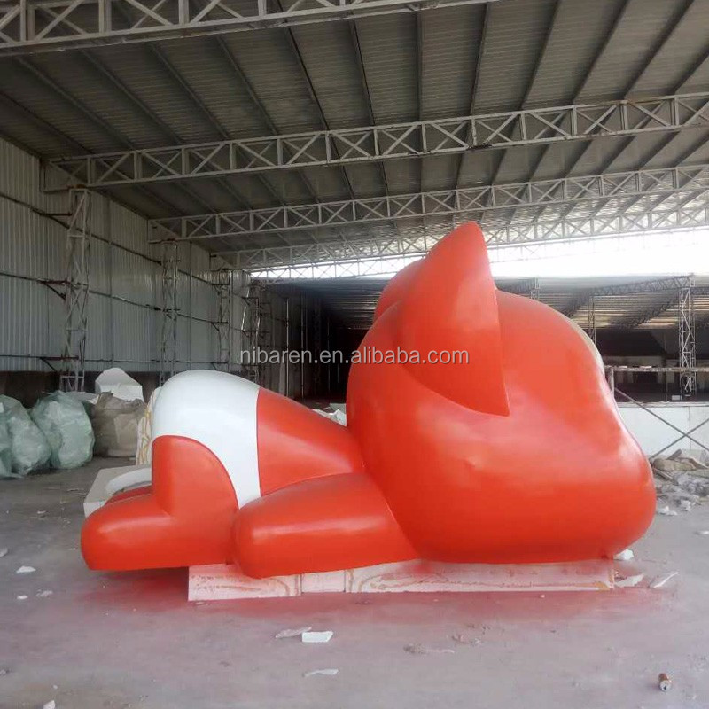Fiberglass Lovely Red Carton Ali Sculpture For Garden Decoration