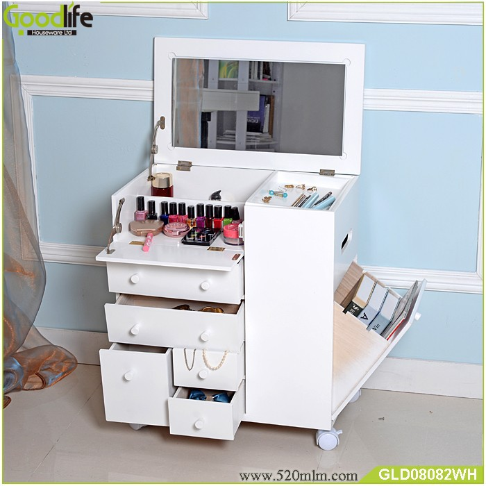 New Style Movable Wooden Makeup Cabinet With Mirror Buy