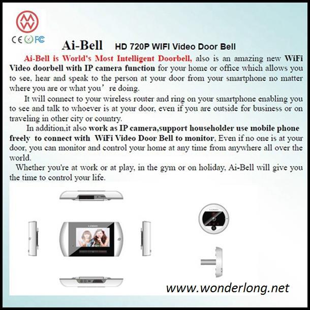 Manufactory supply 4.3 inch LCD H.264 720p wifi door bell camera
