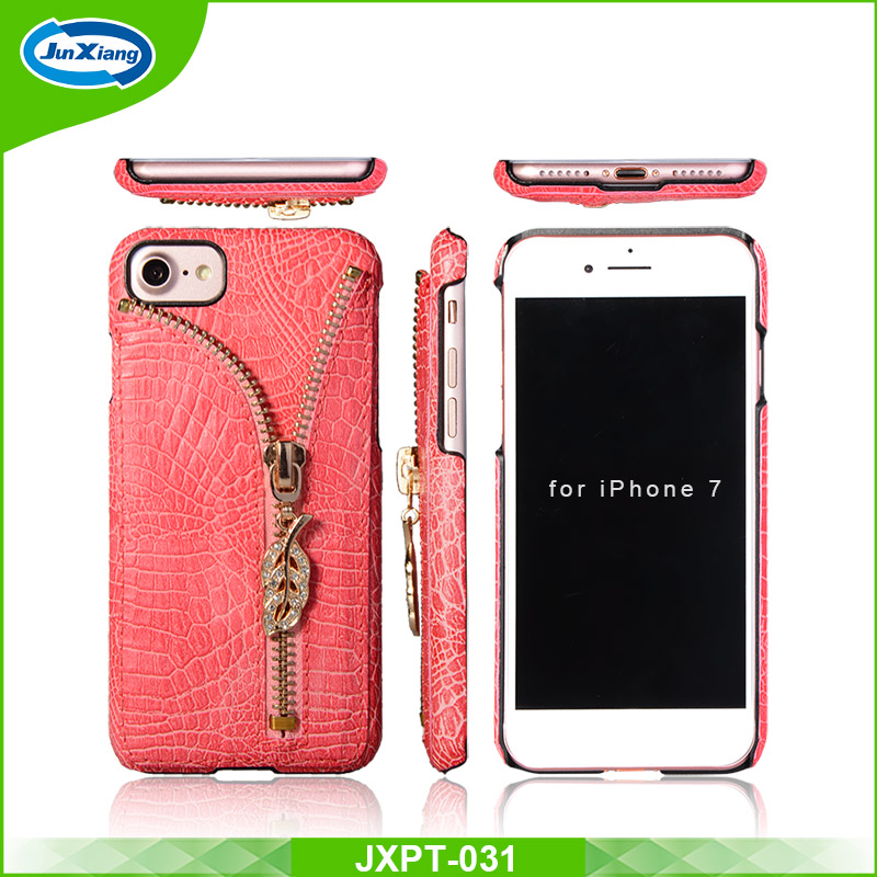 New design zipper crocodile skin pattern leather back cover case for Iphone 7 with card slot