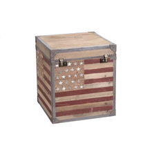 Handpainted classic rustic countryside Industrial vingtage antique reproduction solid recycled wood storage trunk