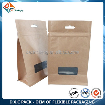 Brown Paper Bag With Window, Zipper Kraft Paper Flat Bottom Pouch