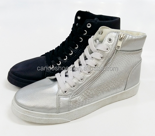 black/silver PU sneaker italy style vulcanized casual shoes with zipper