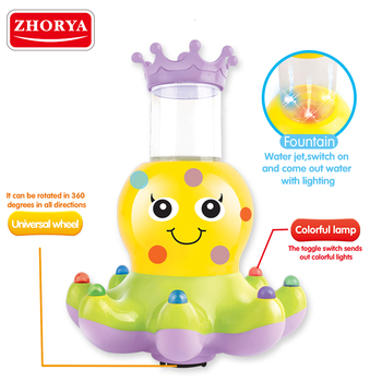 Zhorya battery operated fountain octopus toy with light and music