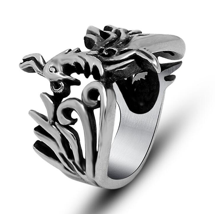 Animal Accessories Jewelry Religious Totem Silver Colors Women Stainless Steel Phoenix Bird Rings