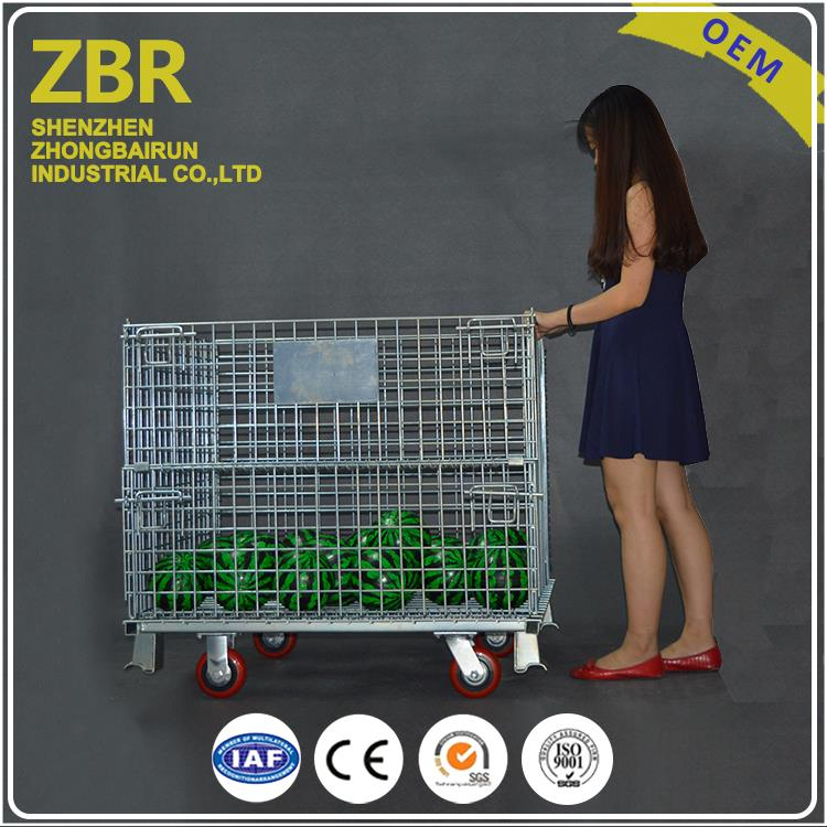 Welded steel transport wire mesh pallet warehouse folding metal cages for recycle industry with wheels